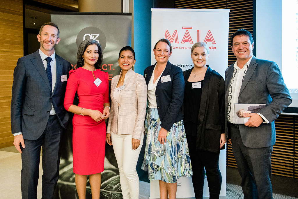 Our panelists from left to right Nicholas Lee (Philips), Sharanjit Leyl (Moderator, BBC News Presenter), Shakilla Shahjihan (Abbott Laboratories), Kellie Twigge (BP), Ami Le Pou (Fonterra) and Wayne Mulligan (Fomana)